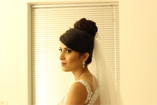 My East Indian bride #catholicwedding #catholicbride #white #wedding #whitewedding #weddingmakeup #bridalmakeup #bridalmakeupartist #muaindia #muabangalore #makeupbynikkineeladri #mattefinish #pink #pinklips #maccosmetics #urbandecaycosmetics #naked3 #cool #elegantlook #hair #updo #hairaccessories