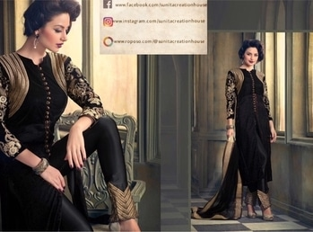 Black Velvet Kurti with heavy motifs on Sleeves and Pants. DM for inquiries and orders. Price:- Rs. 3598/- #kurti #kurtiset #blackkurta #velvet #velvetkurta #indian #traditional #western #modern #modernistic #indianwear #traditionalwear #ethnic #ethnicity #ethnicwear #motif #motifs #heavymotifs #design #blackandgold #newstyle #differentstyle #indiandress #womenswear #worldwidedelivery #deliver #worldwideshipping #imported #importedproducts #mumbai