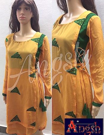 #kurti #stylish # trending #bhandej #mustard #green #doriloops #angsh #jaipur #designer #patches  Dm to order😊