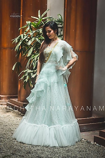Delicate darling SADA flaunts in our ice blue lehanga!! @sadaa17   #archithanarayanamofficial narayanam #bloom #iceblue  #lehengas #pastels #elegance #stunner #pretty #styledby @impriyankasahajananda #delicate #flaunts