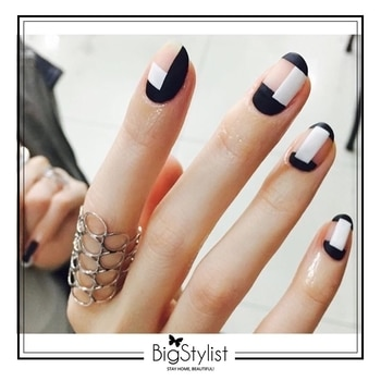 Manicure Monday! We're loving this monochrome geometric nail art!  Like this? Say a Hi on WhatsApp at 9920465699 for more such fantastic stuff! #manimonday #manicure #Monday #mood #monochrome #geometric #nailart #inspiration #love #women #nails #stayhomebeautiful #BigStylist