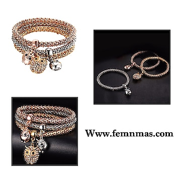 Rhinestone Owl Bracelet Set  ₹499   Shop Link-https://goo.gl/wK4ANj  #femnmasjewellery #partybracelets #lovebracelet #designerbracelet #girlsjewelry #trendybracelets #braceletssets #celebsjewelry #bollywoodstyle #sexy #beautifuldesigns