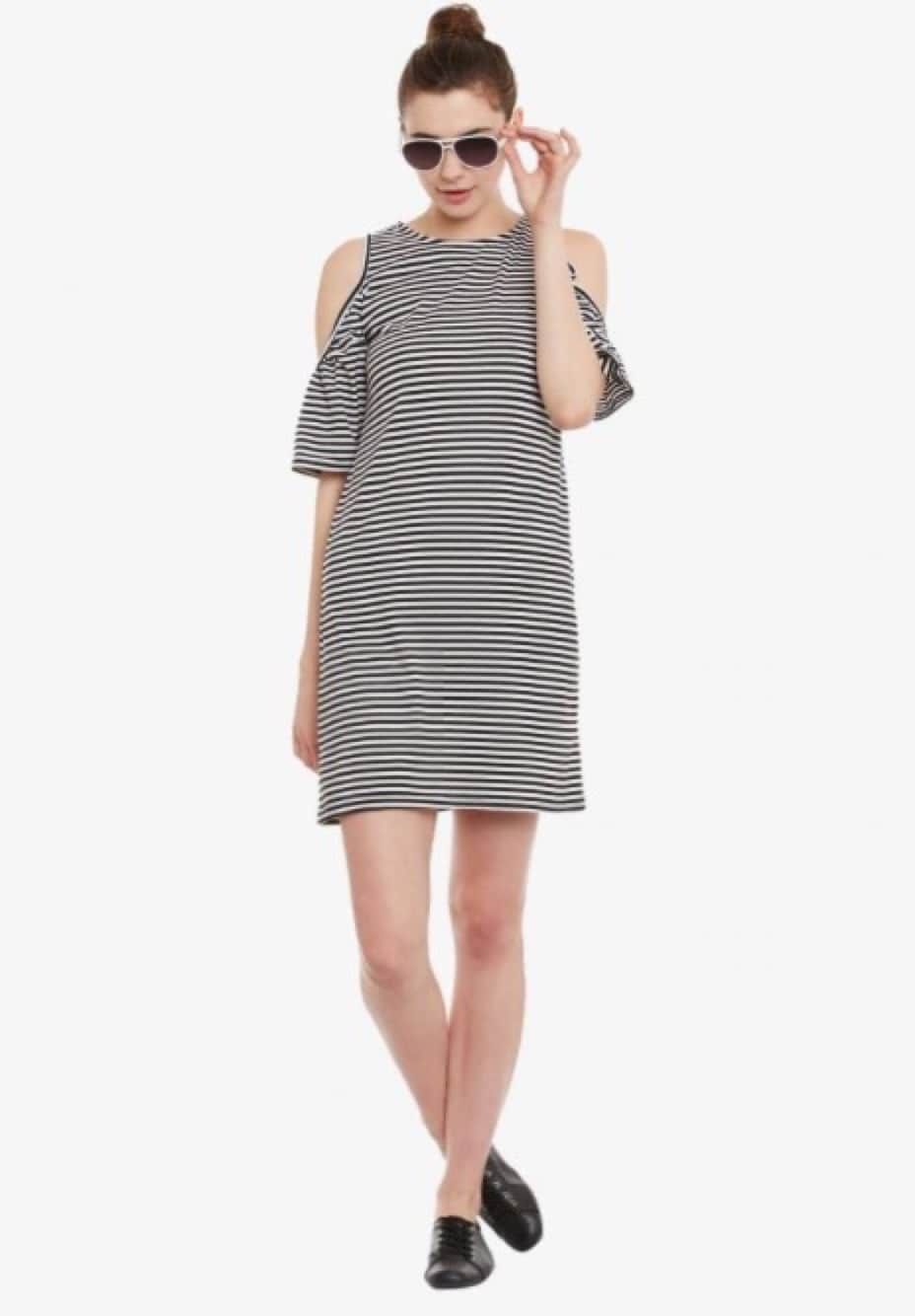 Sale pick of the day                                    Flat 50% off ₹850 only                                       Use Code -- SALEPICK                                       #striped #stripeddress #coldshoulderdress #coldshouldertrend #cold shoulder top sale