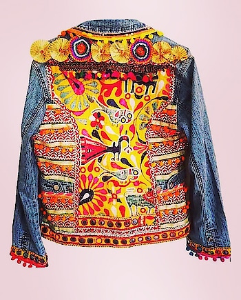 Featuring a #boho denim #jacket by The Banjara Trail embellished with antique #tribal #handmade patches and pompoms: https://www.indiancultr.com/designers/the-banjara-trail #onlineshopping #love #beautiful #india #makeinindia #art #buy #color #incredibleindia #handmade #handcrafted #gameoftones #wow #amazing #instalove #instalike #l4l #designer #fashion