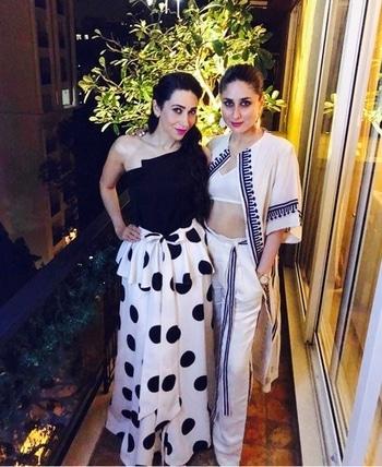 Sister Goals 😍 Kareena Kapoor in Ikai by Ragini Ahuja and Karisma Kapoor in Sachin and Babi & Valentino.  #divas #karishmakapoor #kareenakapoor #styling #dinnerdates #bollywood #bollywoodfashion #celebrityfashion #fashionista #stylingtips #polkadots #bollywoodblock