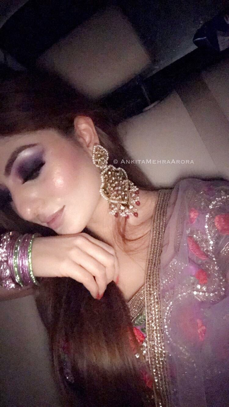 All set for my friend's wedding! Makeup of the day 💜   #ankitamehraarora #jewellery #indianfashion #chaandbaali #earrings #makeup #eye-makeup #makeupgoals