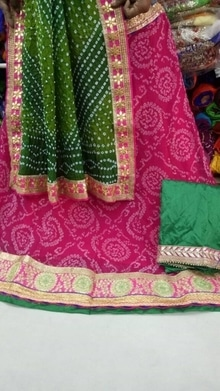 Beautiful colourful Rajasthani Lehangas  Lehanga-Semi georgette with Gota border Dupatta-semi silk, semi Georgette  Blouse-dupion silk with Gota border Price -₹1950+shipping extra