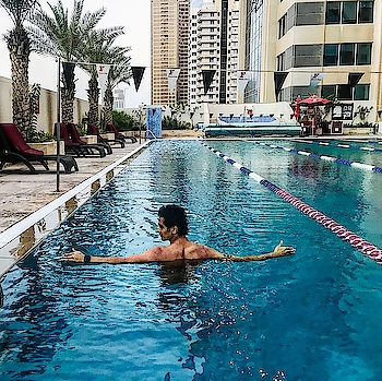 Lets swim 🏊🏼‍♂️ #swim #swimming #swimmingpool #pooltime #blue #water #lean #muscle #back #cardio #fit #fitness #fitnessmodel #fitnessfirst #fitnessfirstme #iamunlimited #dubailife #mydxb #travel #traveller #travellife #roposo #roposo-creativephoto  #dubaimediacity #dubai #uae #indian #sajansinghrawat
