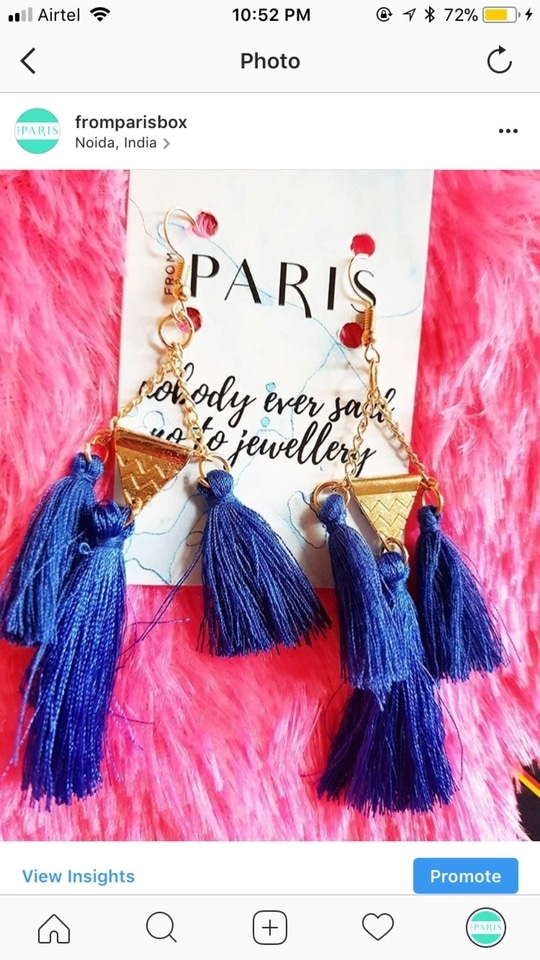 Tassel details 😍 | In the November Edition | @fromparisbox .. . The November box is themed on Beaches of Bali.  THE SUBSCRIPTION BOX INCLUDES: .  2-3 latest Bohemian, Gypsy, Mermaid & Festival Jewelry/ fashion accessories from Bali, 1 Sea Soul Body Massage Candle and 1 Organic Mill Peppermint Foot Soak and a surprise gift from Bali 💝🏝⛱ . . . Picture by @leo_tales 😘 . #unboxing #bali #beaches #water  #sun #fromparisbox  #fromparis share your story!  #jewellery #styling  #necklace #style #buy #instafashion  #quotes #onlinestore #statementjewellery #instajewellery #accessories #viral #love #fashionblogger #scentedcandles #subscription #november  #organic #deadseaminerals #tasselearrings