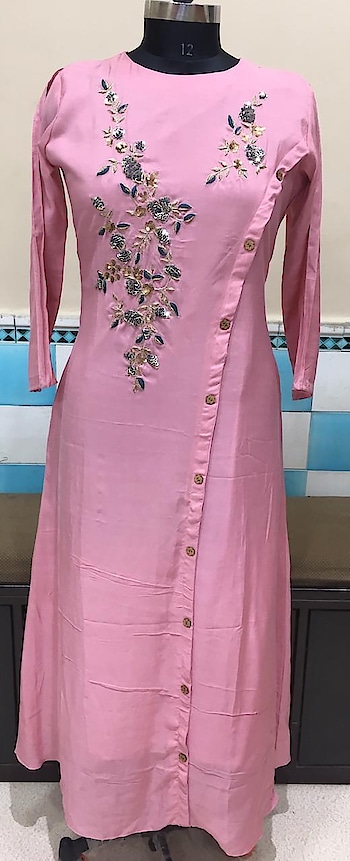 Rate:1750/-  Maslin kurti A line with heavy jardosi work on yoke with Resham with desiner cut cotton inner attached  D.no ST 04 Lenth 54 Size Xl only