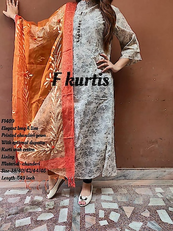 Rate:1550/-  Elegant long A line  Printed chanderi gown With optional dupatta  Kurti with cotton Lining Material- chanderi Size-38/40/42/44/46 Length-₹49 inch