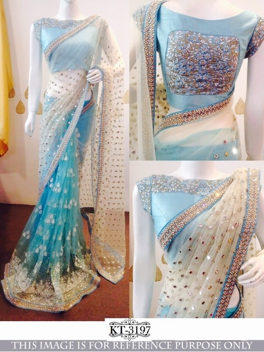 Nylon mono net  sattin silk saree with sequence work designer saree with designer  blouse. #tapasyacollections #designer-wear  #sarees