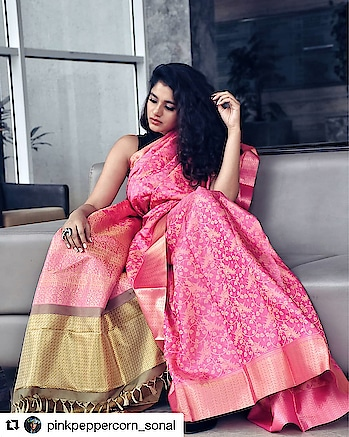 It is not about how you drape a saree, but how you carry it with poise. . . Watermelon Pink Kalamkari Patterns Saree search code : 254440 . This amazing watermelon pink neo classic Kanjivaram saree is packed with beautiful kalamkari patterns woven throughout the body with subtle golden zari patterned border. This saree is further prettified with golden beige shaded brocade geometrical pattern zari blouse and pink-golden beige zari pallu. . . In the picture@pinkpeppercorn_sonal . . #Malaysia  #London #UK  #Australia #SriLanka #Singapore #usaindians #ukindians #malaysiaindians  #indiantraditionalwear #handwoven #kanjeevaram #kanjeevaramsaree #kanjeevaramsilk #india #fashion #contra #kanjivaramsilks #sareetime #weddingsilks #handloomindia #puresilksarees #silksofindia #christmas #southindiansilksarees #onlinesilksaree #sareesofinstagram #kanjivaramsilks #100sareespact #kanchipuramsaree