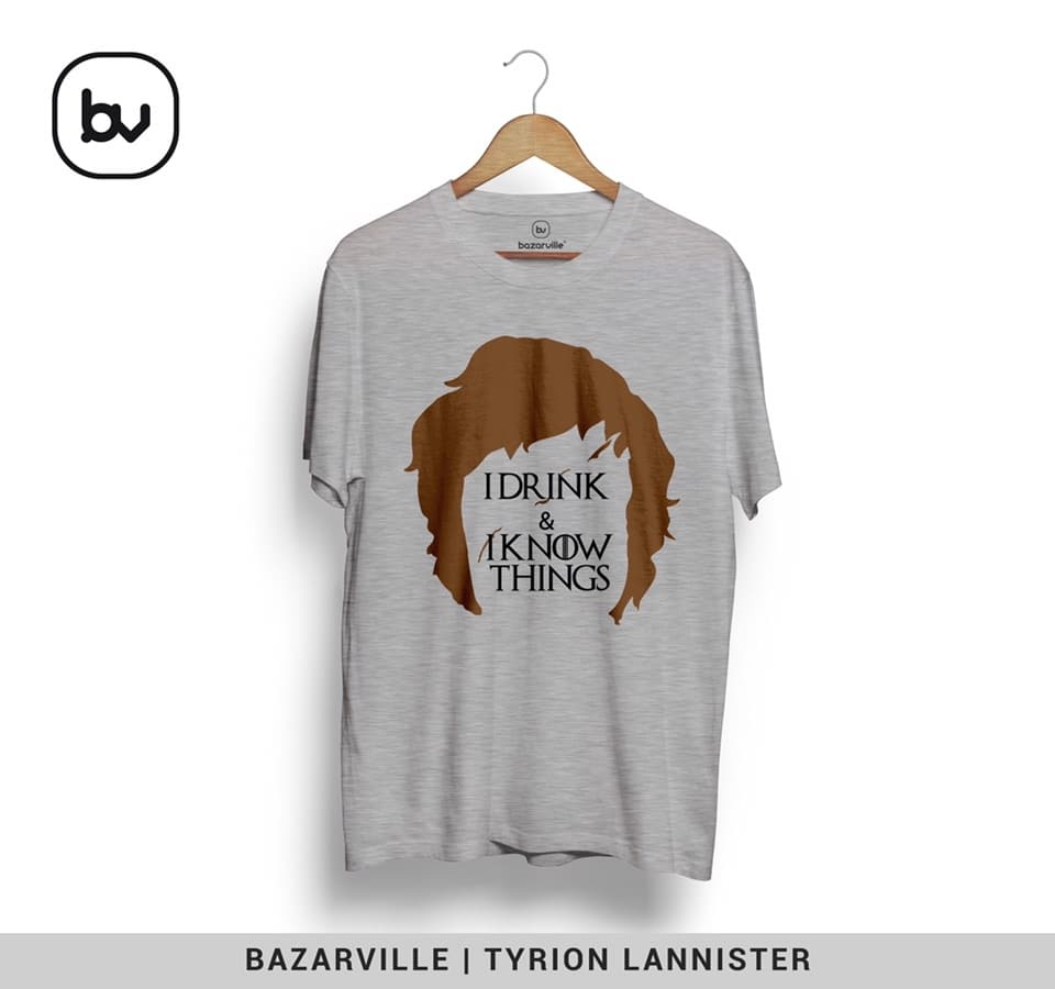 I drink & I know things.  Does that sound familiar? Yeah, it's TYRION LANNISTER, a famous character from the game of thrones series.  Order now. Just dm us 😃  #gameofthrones #tyrion #tyrionlannister #idrinkandiknowthings #tvseries #tv #gameofthronesfamily #gameofthronesseason6 #season #got #gottshirt #bazar #bazaar #bazarville #bazarvilleindia #whatsapp #bhopali #bhopal #mumbai #noida #gurgaon #indore #dm #instagood #tshirt #gotseason6