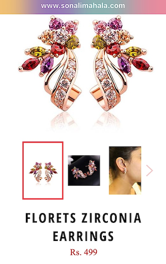 Sonali Mahala Couture Amazing new product  Buy Now Florets zirconia Earrings, 499 INR: