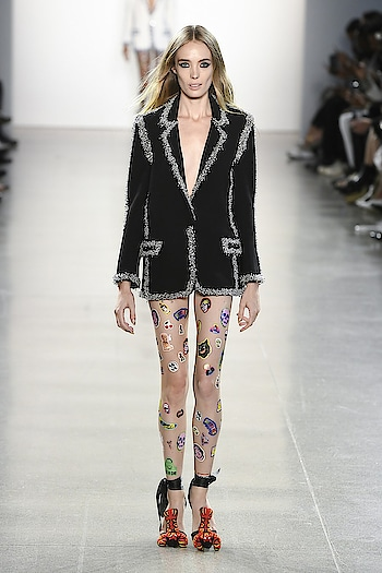 SPRING 2019 READY-TO-WEAR Libertine 🖤🤩  Spotted today, for example, was a piece from an early silk-screen collection, a bedazzled tie-dye hoodie, and print dresses along '30s garden party lines, among other look-at-me pieces. Adding to the fun was the pre-show DIY action. At each seat was a page of stickers which some guests, including Anthony Kiedis, used to decorate their kit.   #libertine #internationaldesigner #runway #fashionweek #newyork #NYFW2018 #NYFW #supermodels #ramp #spring2019 #readytowear