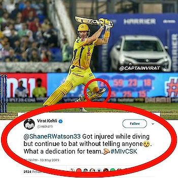 Kohli tweet on wattoo innings #watson #csk  csk is not a team it's a family #msd #dhoni-csk