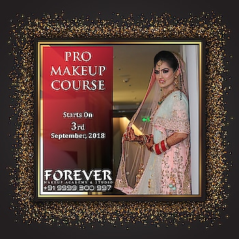 PRO MAKEUP COURSE - FEW SEATS LEFT  Duration - 3 Weeks | Monday to Friday | Timing - 10:00 AM to 02:00 PM  Three Weeks Makeup Course consisting of lectures, theory and practical instructions with hands-on training, assignments and Certification.   Product exposure of leading international brands like HUDA Beauty, Anastasia Beverly Hills, Becca, Sephora, MAC, Dior, Estee Lauder, L.A. Girl, Make Up For Ever, Kryolan, Makeup Revolution, Benefit, Chanel, Bobby Brown, Cover FX, Pro Arte, Real Technique, Tarte, Elizabeth Arden, Sea Soul, Inglot, Airbase and PAC among others.   COURSE CONTENT: •General Hygiene Guidelines as a Makeup Artist •Color theory technique •Detailed study of different skin types •Color correction •Correcting dark circle, pigmentation and other problematic skin imperfection •The art of proper foundation selection as per particular skin tone along with blending foundation, contour & highlighting (Cream - Powder technique) •Understanding different eyes and face shapes •Techniques to achieve the Perfect Eyebrow shape •Eyelash Application •Smokey eyes •Jewel-Tone eyes •Glitter Application •Complete Bridal Makeup •Cut Crease technique •Mature Makeup •Working on Asian eyes •Understanding different lip shapes along with lip application •How to make lipstick last longer •Guidelines on how to start and register your career as a makeup artist.  Brand Exposure: •Iwata Airbrush Demo •Temptu Airbrush Demo.  We are located at :  https://goo.gl/maps/YLaDJ8ihAJF2  FOREVER MakeUp Academy & Studio Vibrant Building,  Plot No. 5, Pocket No. 2, Jasola, Near Apollo Hospital, New Delhi - 110 025, India.  Contact Us For Registration & More Information on: M : +91 9999300997/ 9958979840  E : info@ forevermuas.com / forevermuas@gmail.com
