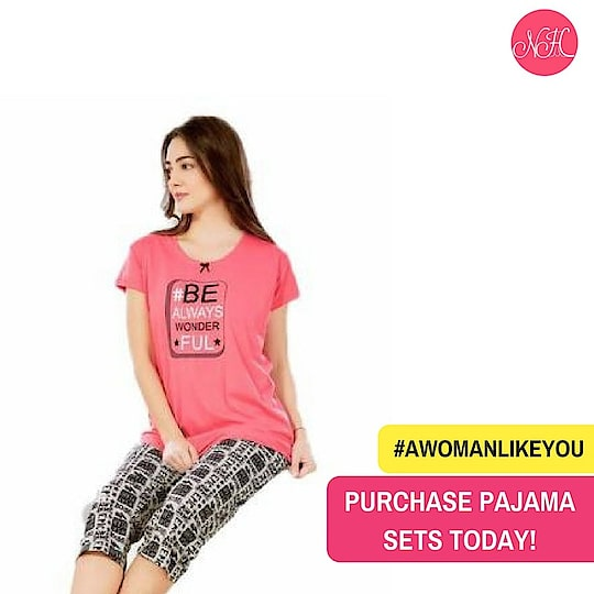 Shop this peach black pajama suit for yourself.  A perfect companion for this summer!  And avail RS.100 OFF using the code SHE100.   Shop here: http://bit.ly/2pamxOb #WomenNightwear #AWomanLikeYou #PajamaSuits #