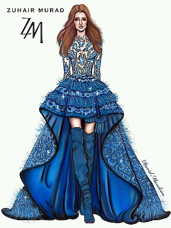 Blue dress # fashion #designercollection #evening-gown #illustration #dress-up #drwaingpainting Blue dress