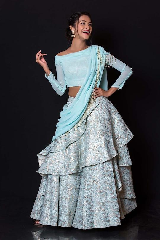 Unlocking the 9 colors of Navratri..!! 🌸 #day8 #skyblue  Rent this stylish pastel blue draped lehenga only at www.rentanattire.com or visit our stores at Pune, Delhi and Dehradun  #navratri #navratri2018 #festive #season #indianfestival #indianfashion #fashion #lehenga #sherwani #jewelry #desistyle #ethnic #style #fashiononrent #rentanattire #rental #rentnow #india #pune #delhi #dehradun