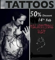 50% Discount For EVERY ONE  Only On 14th Feb..  MAKe Ur Valintine Memorable With Permanent Tattoo.. ........50% Off  Tattoo Only Avaliable.On Bookings...  Few Apoitnments Left..  For.Booking Call 8586810131 binz