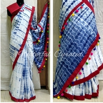 Indigo Shibori Mul Cotton Sarees Maroon colour border with pom pom  Price : Rs 2190 (including shipping within India)  COD not available. To buy visit www.waterfallcurated.com Whatsapp no: +919819249926  #indigo #indigolove  #indigosaree #shibori #shiboridye #saree #handmade #onlineshopping #ethnic #designer #fashionforecast2017 #soroposo #pompoms