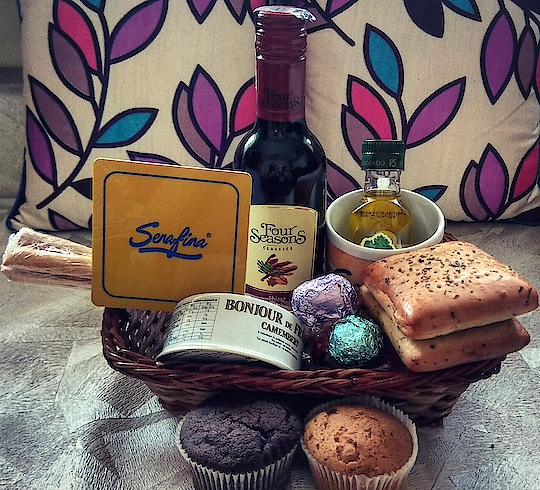 What do you do when #Serafina gifts you #wine,  #FrenchCheese,  #Chocolates and many more goodies????.. 😬😬😬   I just gobbled it all up..    Many thanks #Serafina,  and First Idea PR..  Susmita Kundu & Dharitri Gangly..