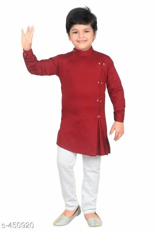 Boy's Ethnic Polycotton Kurta Set Vol 1 Fabric: Kurta - Poly Cotton, Pajama - Poly Cotton  Sleeves: Full Sleeves Are Included  Size: Age Group (2 - 3 Years) - Kurta Chest - 23 in, Length - 17.5 in, Pajama Waist - 23 in, Length - 25 in  Age Group (3 - 4 Years) - Kurta Chest - 24 in, Length - 18 in, Pajama Waist - 24 in, Length - 27 in  Age Group (4 - 5 Years) - Kurta Chest - 25 in, Length - 19 in, Pajama Waist - 26 in, Length - 28 in  Age Group (5 - 6 Years) - Kurta Chest - 26 in, Length - 21 in, Pajama Waist - 27 in, Length - 31 in  Age Group (6 - 7 Years) - Kurta Chest - 27 in, Length - 22 in, Pajama Waist - 30 in, Length - 31.5 in  Age Group (7 - 8 Years) - Kurta Chest - 28 in, Length - 23 in, Pajama Waist - 31 in, Length - 32 in  Age Group (8 - 9 Years) - Kurta Chest - 29 in, Length - 25 in, Pajama Waist - 32 in, Length - 35 in  Age Group (9 - 10 Years) - Kurta Chest - 30 in, Length - 25.5 in, Pajama Waist - 32 in, Length - 36 in  Age Group (10 - 11 Years) - Kurta Chest - 32 in, Length - 27 in, Pajama Waist - 36 in, Length - 37 in  Type: Stitched  Description: It Has1 Piece Of Kid's Kurta & 1 Piece Of Kid's Pajama  Pattern: Solid  Dispatch: 2 - 3 Days