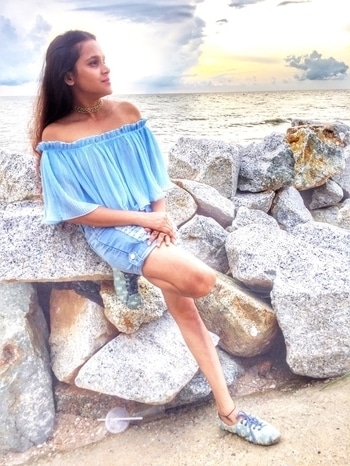 Off-The-Shoulder On Beach!  Beautiful destination inspires beautiful dressing and when its Beach, one color that flows in my mind is Blue, camouflaging and complementing the picturesque and it goes flawlessly with the tanned body. For giving summer style a perfect trendy look on the beach, ruffling off-the-shoulders look great! . New Blog Post on #blabmodo  Link in #bio . #dressmorewithless #fashionmeetcomfort #outfitideas  #blue #Beachlook #fashion #minimalisticdressing #aboutalook #style #fashion #fashiondesigner #styling #blogger #Blabmodo #Lookbook #DailyJournal #Sekinchan #Malaysia #redangbeach #newyear #newyear2017  #paddyland #seabeach #sea #beach #fishingport #malaysiatrip #sekinchantrip #ootd #roposolove #ropsofashion #roposoblogger