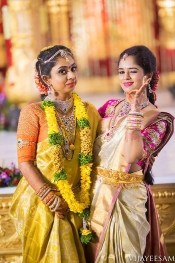 The sisters duo flaunting our design!  #archithanarayanamofficial #bridalcouture #bigfatwedding #traditional #indianattire #pretty #beautiful #gorgeous #so #much #in #one #frame #love #relationship #bridalblouses #elegance #intricate #workmanship #customized