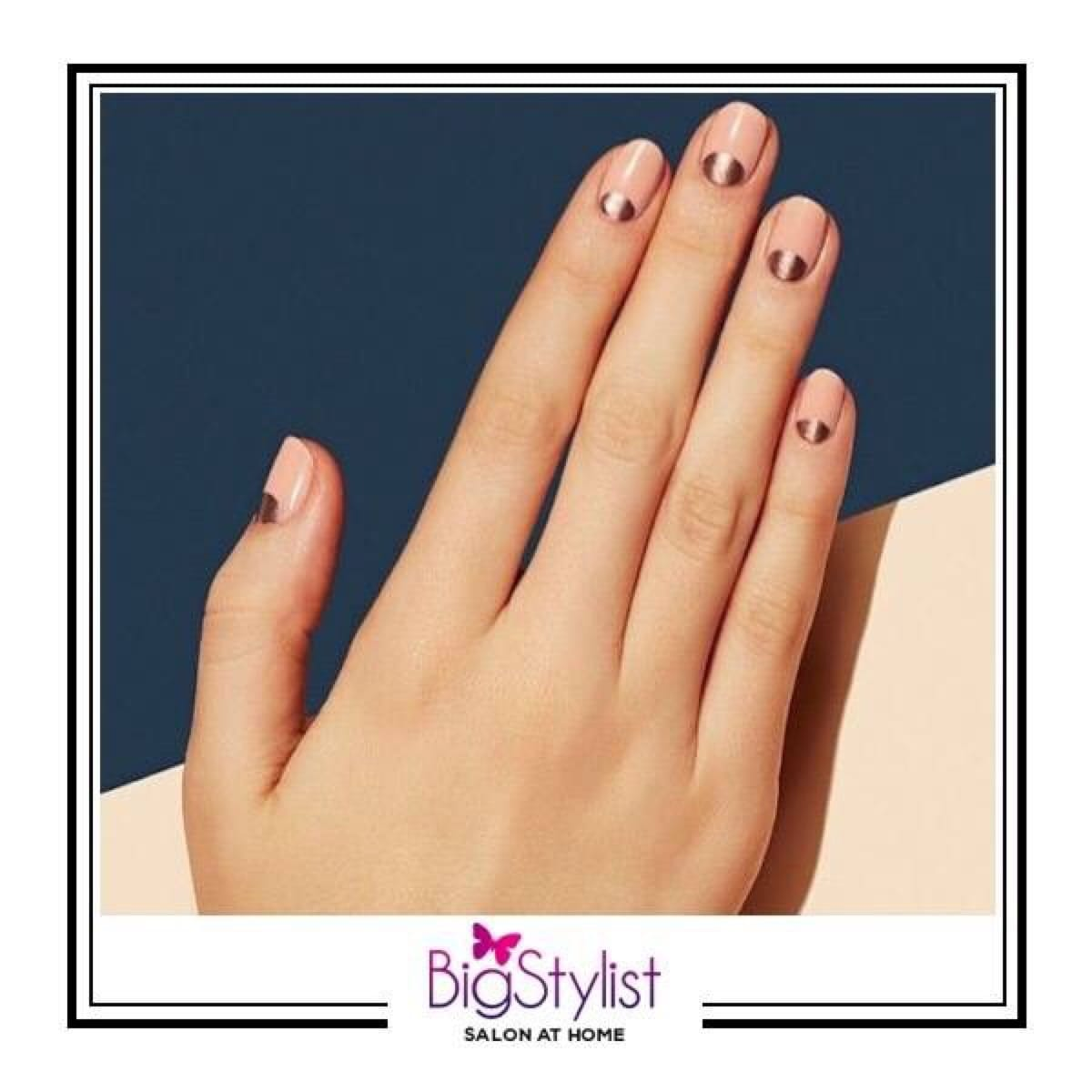 Metallic and minimal nail art inspiration for your next manicure! Like this? Say a Hi on WhatsApp at 9920465699 for more such fantastic stuff! #metallic #minimal #manicure #nails #bronze #nailart #inspiration #stayhomebeautiful #BigStylist