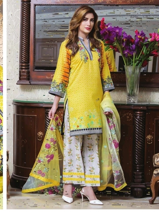 Kalyan brand by z.s textile Embroidered lawn suits with lawn/emb net dupatta
