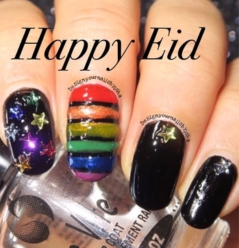 #happyeid #eidmubarak #eidulfitr #designyournailsbyisha #ishanailart #instanails #roposonails #soroposo #roposonails #festivalnails #partynails #manicure #starnails #rainbownails #blacknails #glitternails #shinynails #sheennails #colorfulnails