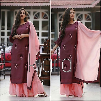 Festive special... Beautiful 3 pcs complete dress... Flair skirt, top and dupatta... Full dress in pure muslin fabric.... Hand embroidery and beads latkan work on top... Febric:pure muslin Sizes:s-xl Price:1975/-