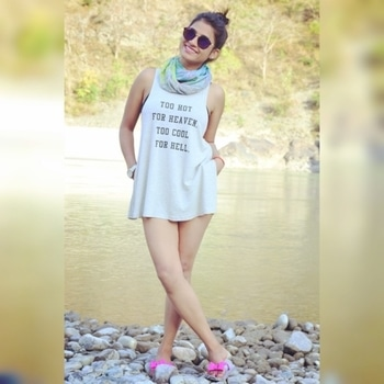 """Mix the summer loose tank with cool scarf and shorts!  """"Too hot for heaven,                Too cool for hell"""" #shorts  @lifestylebyps #top @h&m #scarf @janpat #roposogal #roposostyle #summer #collection #fasionforlife #trendy #style-owes-smile #coolcasuals #highbun #shadeson #feelthefashion #followforfashion"""