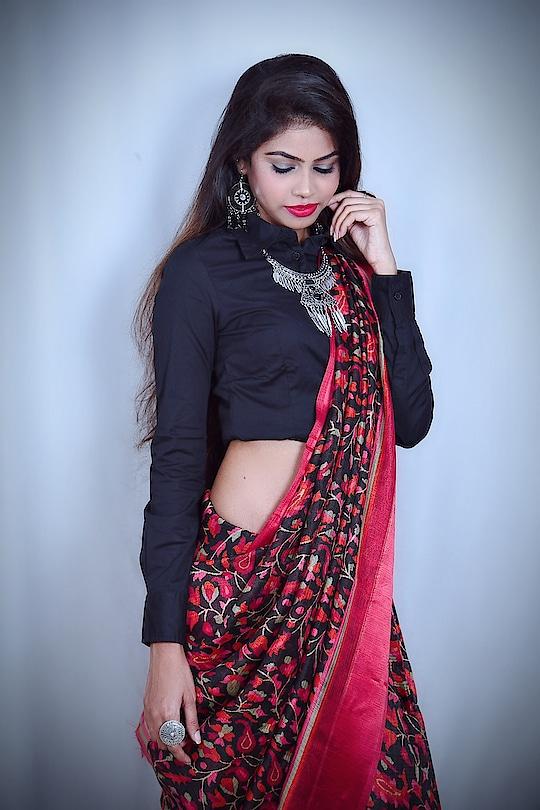 Feeling more beautiful in this gorgeous saree❣️which I have styled with #blackformalshirt #shirtblouse  #CraftsvillaWorldEthnicDay with @craftsvilla #thesnazzydiva #thesnazzydivasareelook #galleri5influenstar #plixxo #bnbmag #craftvillasaree #indianfashionblogger #mumbaifashionblogger #styleinspo #indianwear #ethinicwear #ethnicday2k18 #worldethnicday #ootdfashion #wiwt #accessories #shirtstyle #earings #neckpiece #sareelook #sareestyle #photoshoot #portrait_mood #indianfashion #ethenicfashion #thesnazzydiva #plixxo #galleri5influenstar #bnbmag #kundanjewellery #jewelry #jewellerydesign #bindiya #bridaljewelry #accessories #accessorieslovers #fashionjewellery #fashion #style #indianshoot #ethnicwear #ethenicjewellery #picoftheday #mumbaifashionblogger #fashionpost #jewelleryoftheday #photographers_of_india #portraitphotography #instafashion #happiness #positivevibes ##portrait_ig #wiwt #aboutthelook #lookbook #ootdfashion #thesnazzydiva  #style #fashion #stylediva #instalove #instacool #photography #portrait #portraitphotography #candid #picoftheday #rings #ringlover #plixxobypopxo #plixxo #plixxoinfluencer #plixxoblogger #ootdfashion #galleri5influenstar #jeanscollection #design #wiwt #outfitoftheday #plixxobypopxo #plixxo #galleri5influenstar #makeupartist #picoftheday #outfitoftheday #portraitphotography #portrait_ig #mumbai_ig #styledaily #florals #photographic #portrait_star #look #springsummer #ss18 #pink #simplook #style #fashion #mumbaifashionblogger #grattitude #instamood #instalike #instalove #postivevibes #happiness #smile #moments #mumbaifashionblogger #indianfashionblogger #tops #instacool #love #moretocome #plixxobypopxo #plixxoblogger #plixxoinfluencer #galleri5influenstar #instalook #ootdfashion #simplelook #sundaymood #roposo #soroposo #roposolove #roposodiva #roposolook #roposo-fashiondiaries #roposo-makeupandfashiondiaries #roposolike #roposofeature #ootdfashion #sheinofficial #sheininspo #sheingals #plixxobypopxo #plixxo #galleri5influenstar #mak