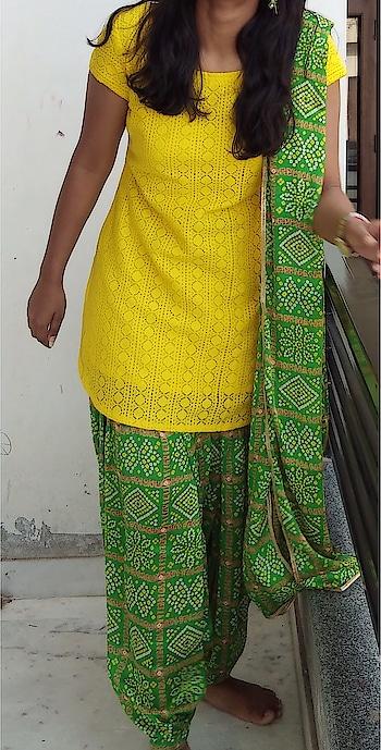 #bhandej #green #patiyala #kurti #lakhnawi #yellow #clientdiaries #designer #angsh #jaipur #different #wedding collection Dm to order😊