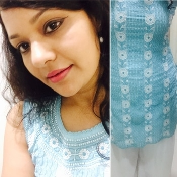 Love this shade of blue and chickankari embroidery #chickanwork #chickankariwork #embroidery #lucknowchikankari #ethnicwear #kurtastyle #palazzo #fashion #style #roposo #roposogal #soroposo #swag #indianfashion #blogger #picoftheday #pictureoftheday #ootd