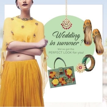 Summer weddings are the best , aren't they? drinks get cooler , water gets warmer , music gets louder, nights get longer.. Get this summer wedding look from jivaana.com! #summer #weddings #fun #colours #yellow #weddingattire #dance #mariposa #bags #accessories #green #juttis #colourpop #party #vows