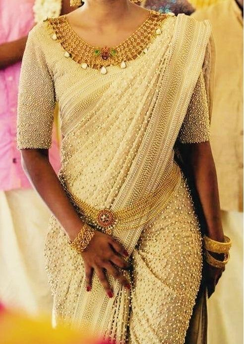 Pearl beaded saree ❤️  #pearls