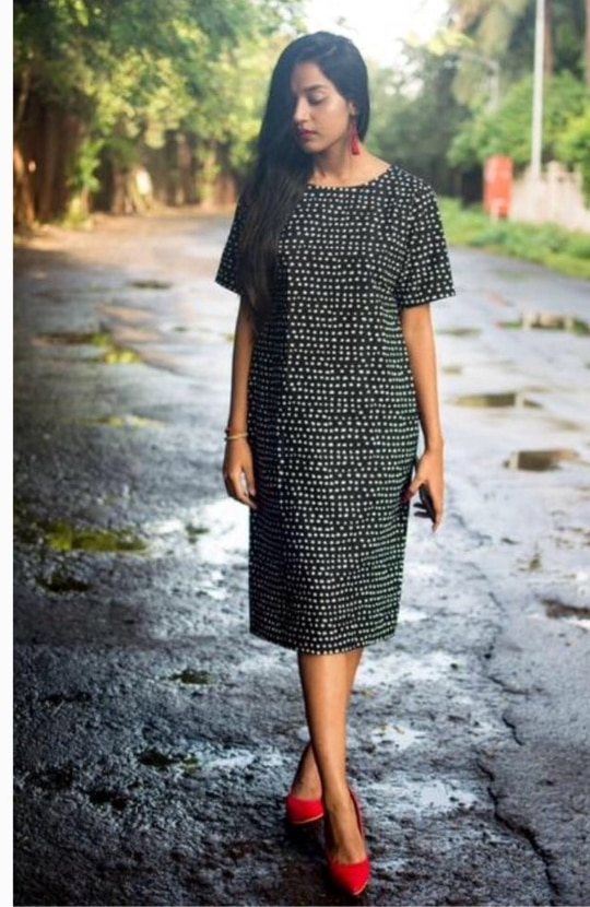 Polka Dot Shift Dress.  Made in pure cotton. ₹1800.  Whatsapp to  order. 9986814448 #cotton