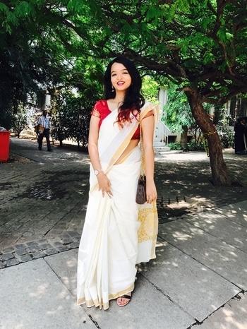 Authentic wear #bloggerlife #bangaloreblogger #keraladiaries #offwhitegold #redblouse #michaelkorsbag #indianfashion