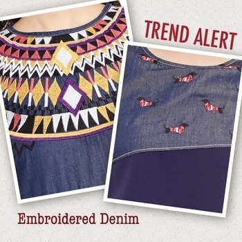 DENIM TRENDS : http://bit.ly/2nabHE0 Embroidered necklines on denim outfits are this summer's rage, did you pick yours yet ?  #denim #trendalert #embroidery #embroiderylove #thevanca #blue #summer