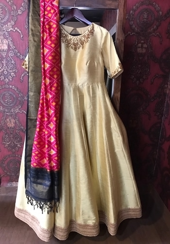 Pure Raw silk Floor length anarkali with Ikkat dupatta embraced with zardosi work  For purchase email me at shilpadesigner_82@yahoo.com or what's app me on +91-9885707762 WE SHIP WORLDWIDE  #eternallibaas #customwear #designerlabel #floorlengthanarkalisuits #ikkatdupatta #zardosi #zardosiwork #hyderabaddesigner #shilpawaghray #indiandesigner #indianwear