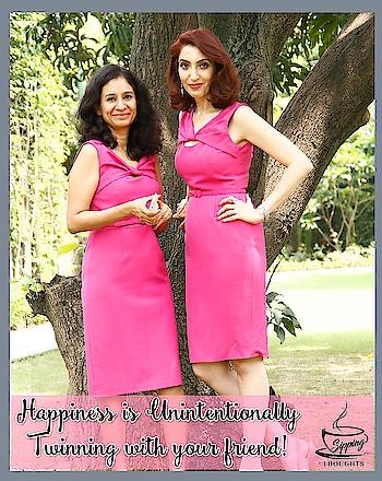Twinning #besties #femalesfriends #smallerpleasures #joyfull #joysoflife #shootday #bts #sippingthoughts #webchatshow #tinawaliaIC #imagecoach #imageconsultant #groomingexpert #softskilltrainer😊