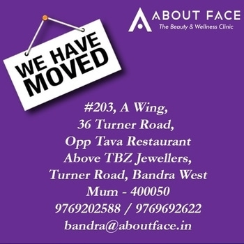 Please note : We have a new address.. Shifted from Khar to Bandra to give you a more convenient, comfortable and cozy experience. With luscious interiors and a warm welcome we await you at the new clinic! #aboutfaceindia #summer #dermatologist #dermatology #skinhealth #mumbai #skincare #skin #skinhealth #skintips #antiaging #anewyou #lookgood #lookamillion