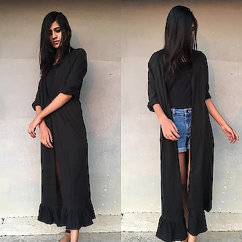 "Black stardust "" long cape  Wthsapp-9986814448  #shop #shoponline #fashion #clothing #ootd #potd #trends #casual #prints #colors #newarrivals #indowestern #handmade #mumbai #shopping #instagood #fashionblogger #love #black #capes #cape #longcape"