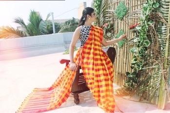 #roposotalenthunt#fashion#sareestyling#sunrise#handloomsarees