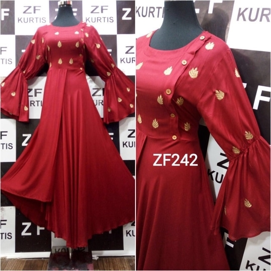 Zf zf242 rayon designer kurties woth embroidery balloon sleeves stylish designer piece full stiched size40,42,44 rs 999/-+ship